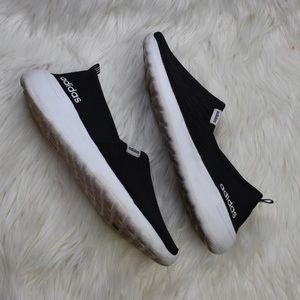 Adidas Cloudfoam All black leopard slip on sneaker